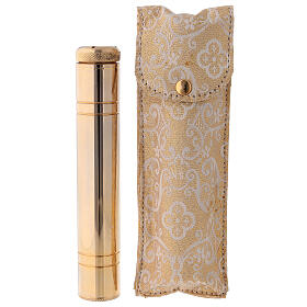 Aspergillum in golden brass 24k, 14 cm with satin case s2