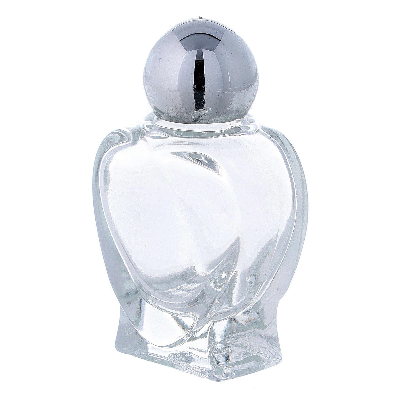 Botella agua bendita en forma de corazón 10 ml (CAJA 50 PIEZAS) vidrio 3