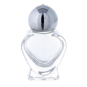 Botella agua bendita corazoncito de vidrio 5 ml (CAJA 50 PIEZAS) s1
