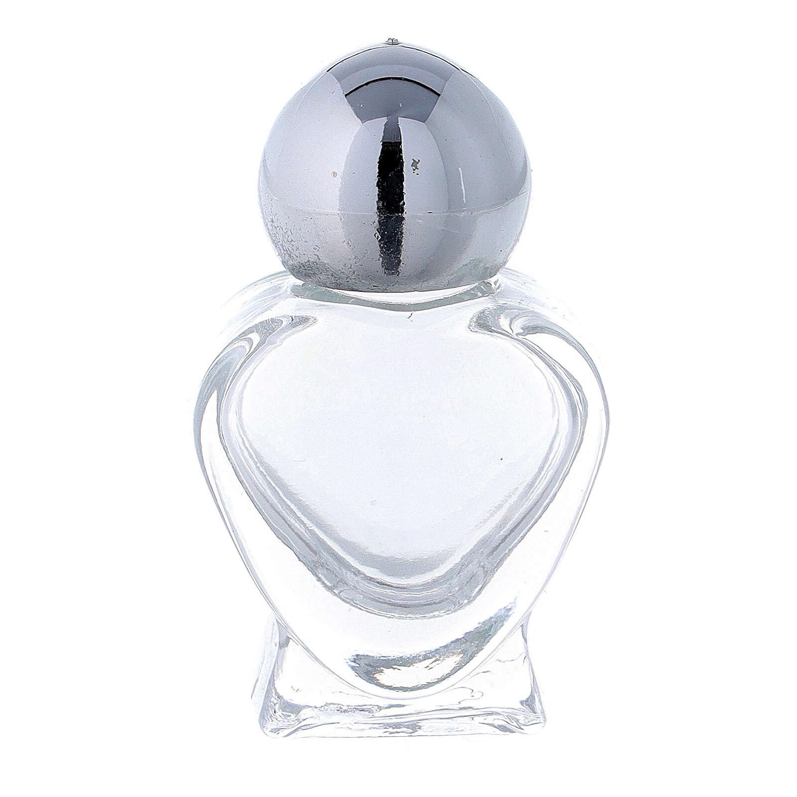 Holy water bottle, heart shaped in glass 5 ml (50 pcs pk) 3