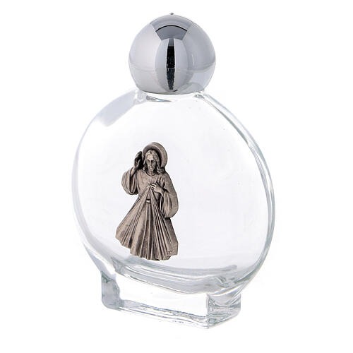 Flacon rond 15 ml pour eau bénite Christ Miséricordieux (50 pcs) verre 2