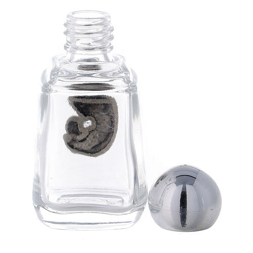 Glass holy water bottle with Madonna and Child, 15 ml (50 piece pk) 3