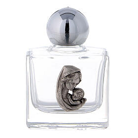 Holy water bottle in glass, 10 ml with Madonna and Child (50 pcs pack) s1