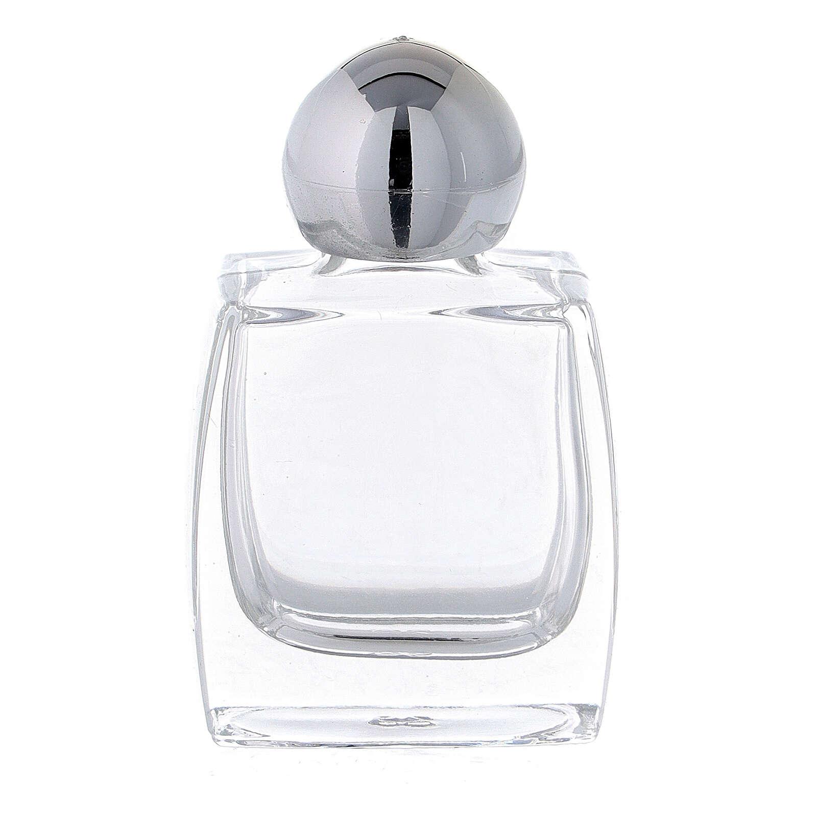 Botella agua bendita vidrio tapón plata 10 ml (CAJA 50 PIEZAS) 3