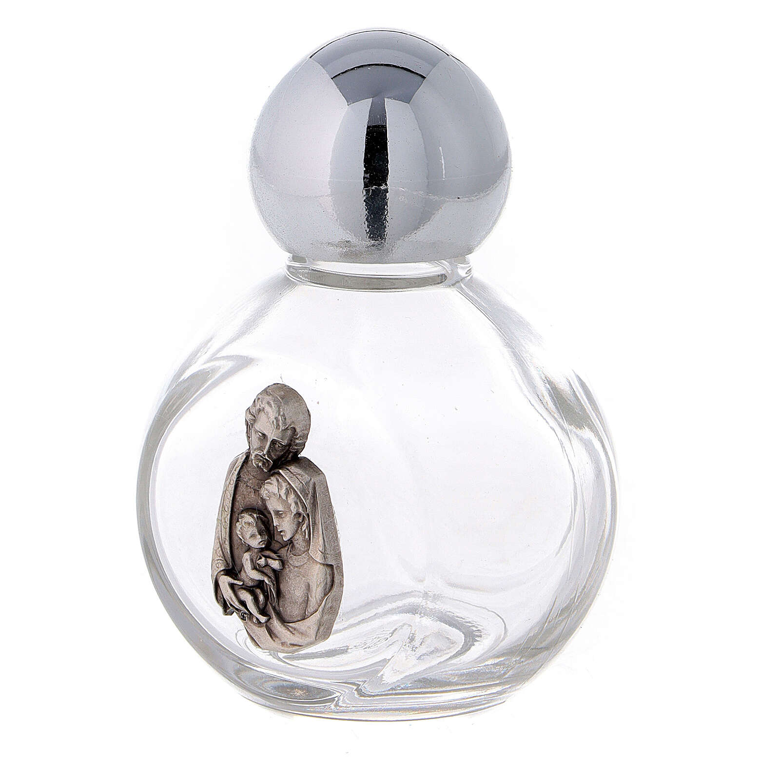 Round holy water bottle with Holy Family (50-piece pack) glass 3