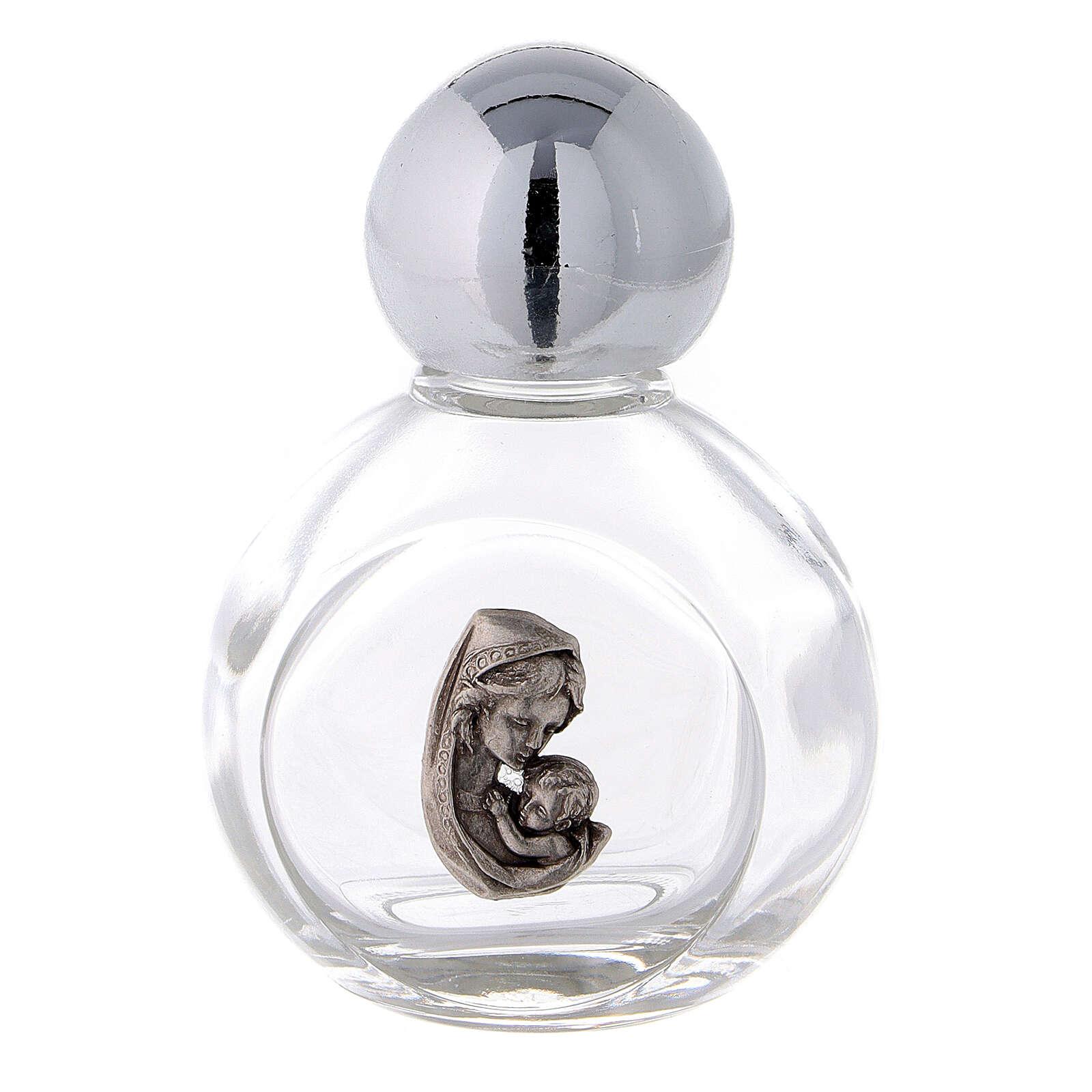 Bouteille eau bénite ronde Vierge à l'Enfant 35 ml 50 pcs verre 3