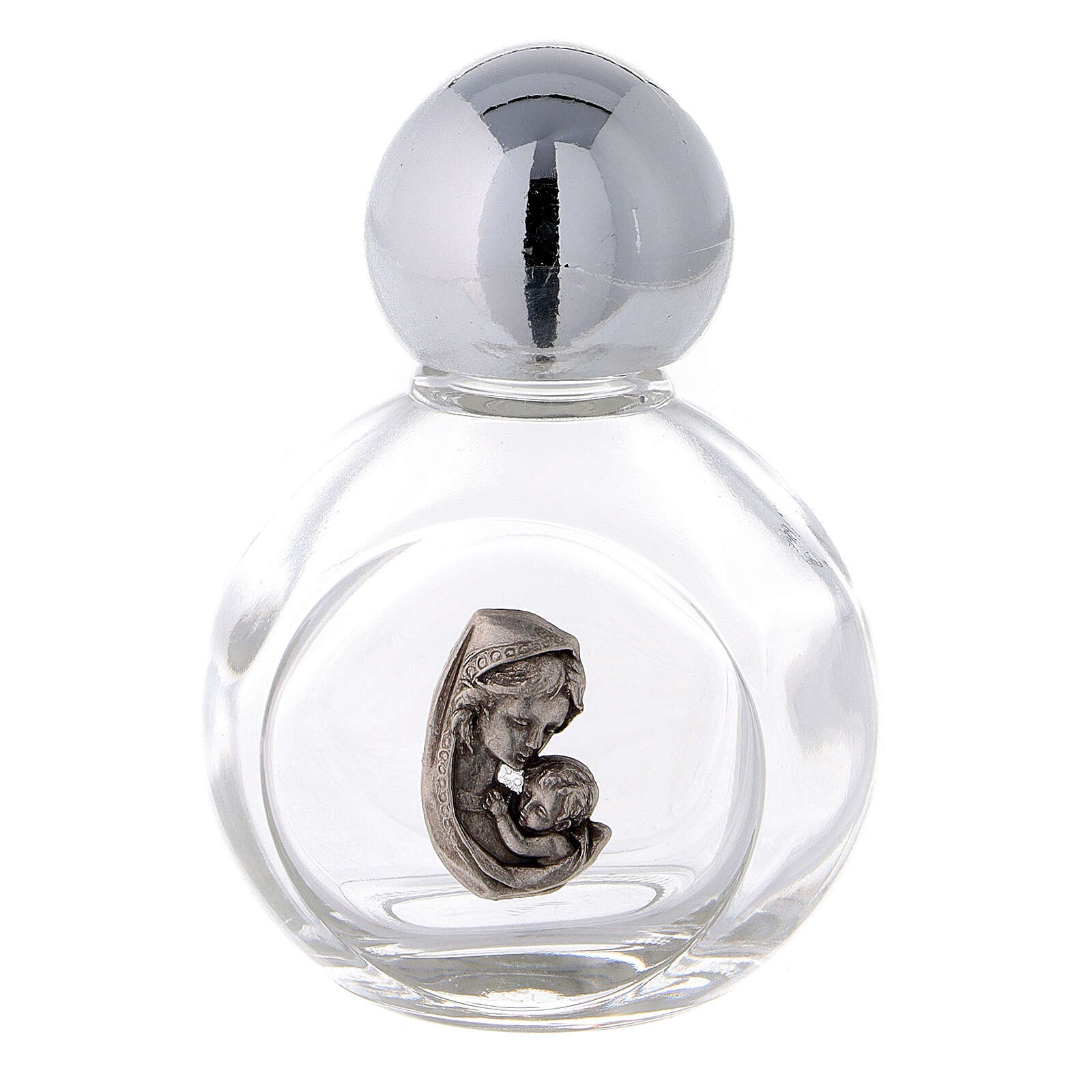 Round holy water bottle with Madonna and Child 35 ml (50 pcs) glass 3