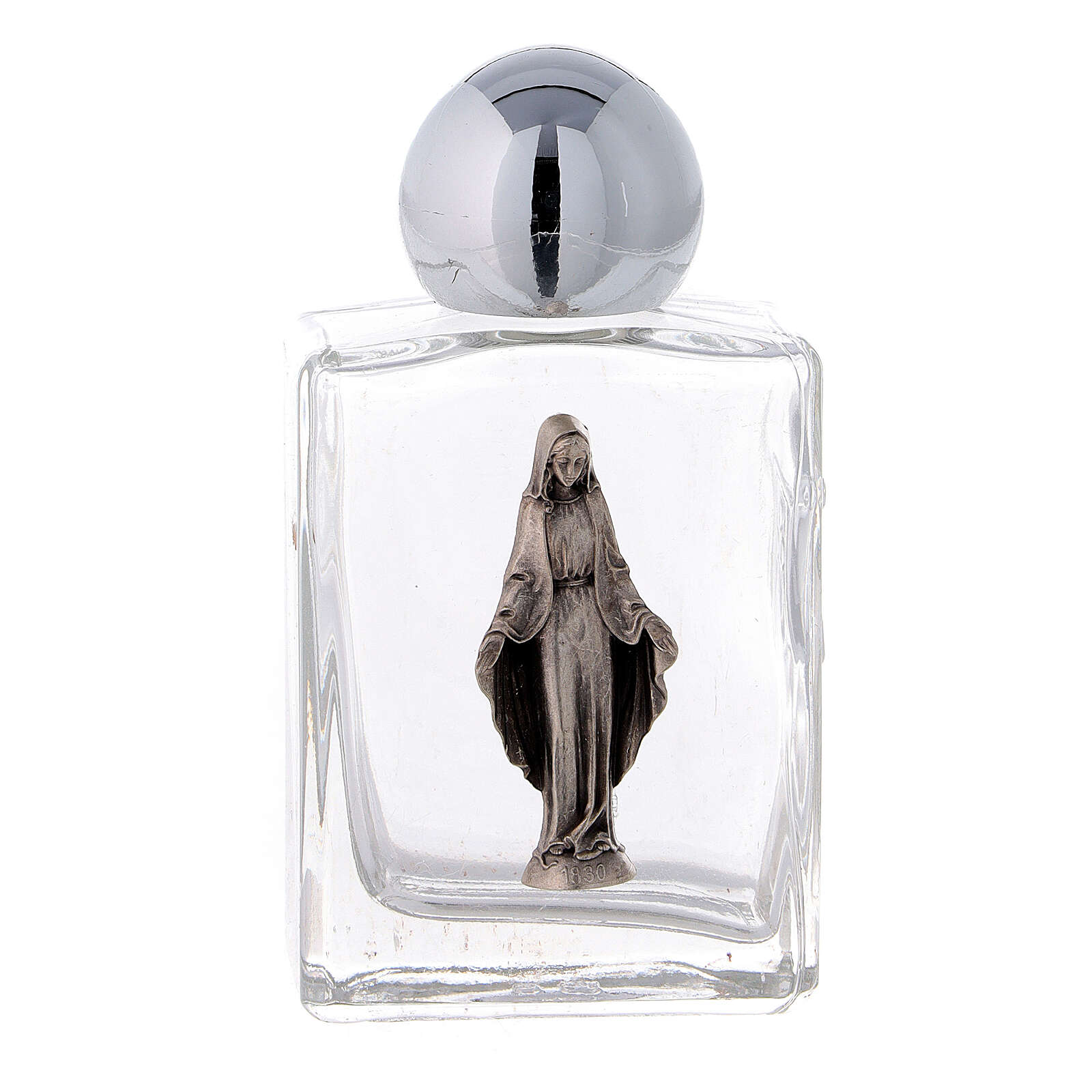 Square holy water bottle with Immaculate Mary 35 ml, in glass (50 pcs PACK) 3
