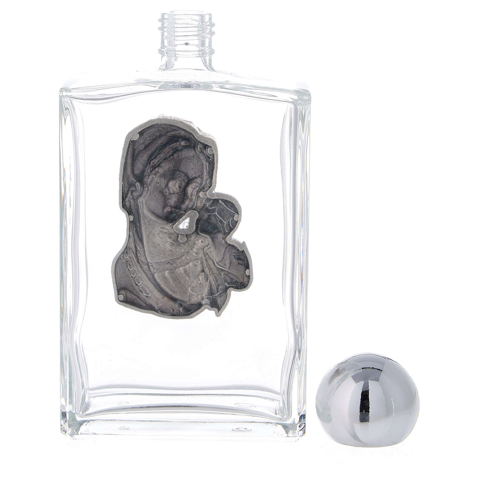Holy water bottle with Virgin Mary and Baby Jesus 100 ml in glass (25-PIECE box) 3