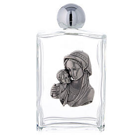 Holy water bottle with Virgin Mary and Baby Jesus 100 ml in glass (25-PIECE box) s1