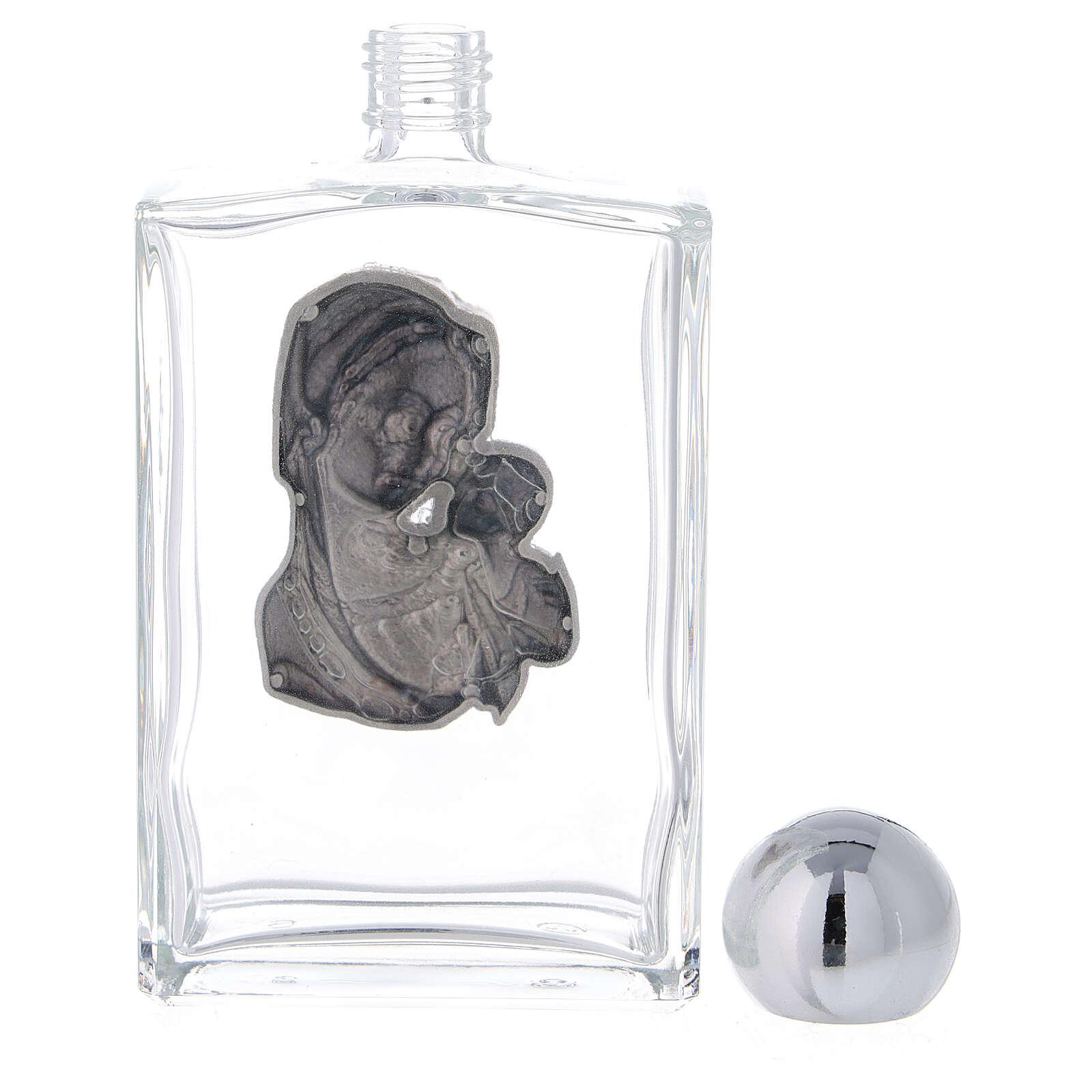Bouteille eau bénite 100 ml Vierge à l'Enfant rectangulaire 50 pcs verre 3