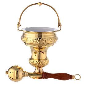 Balde agua bendita con aspersorio latón dorado 30 cm s1