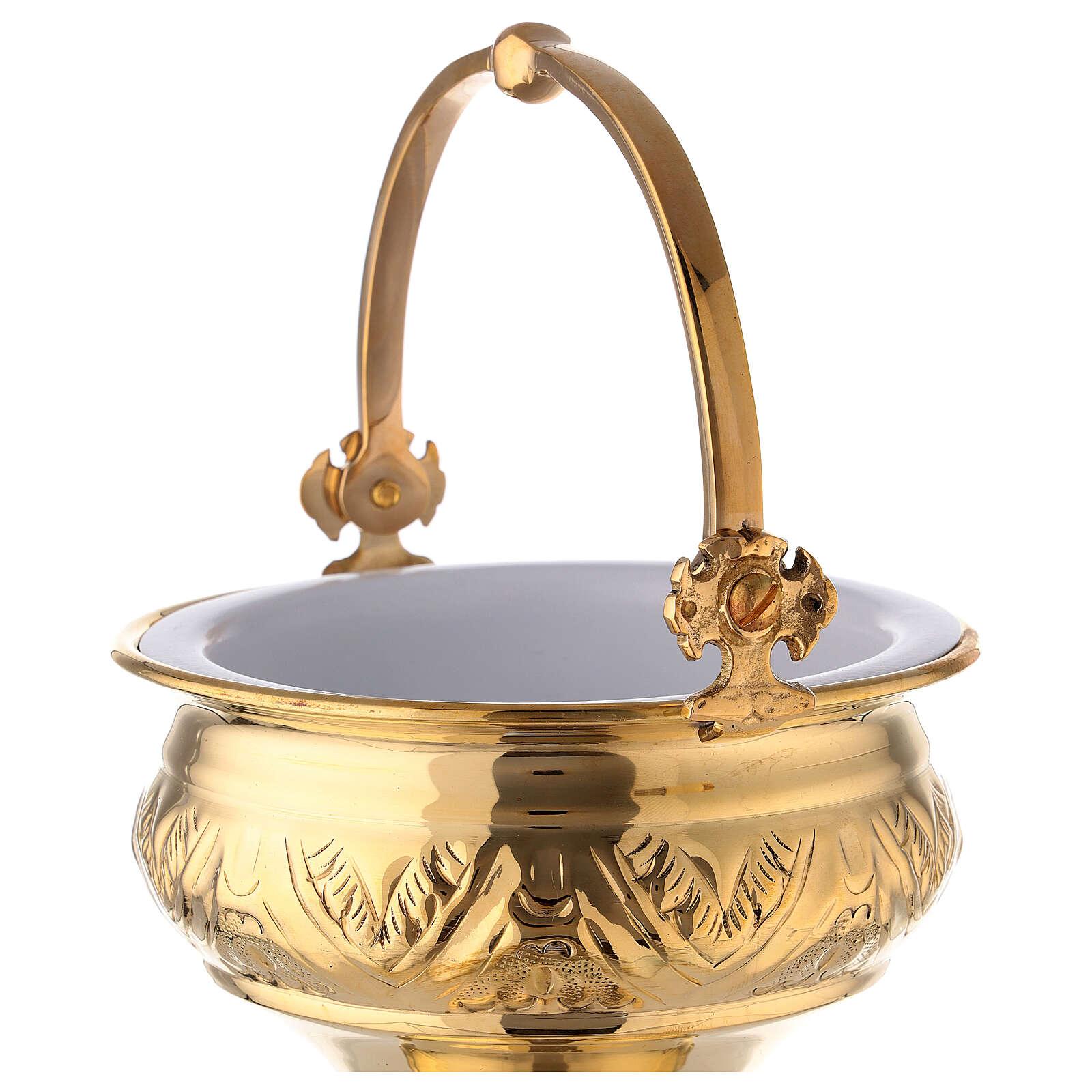 Secchiello acqua santa con asperges ottone dorato 30 cm 3