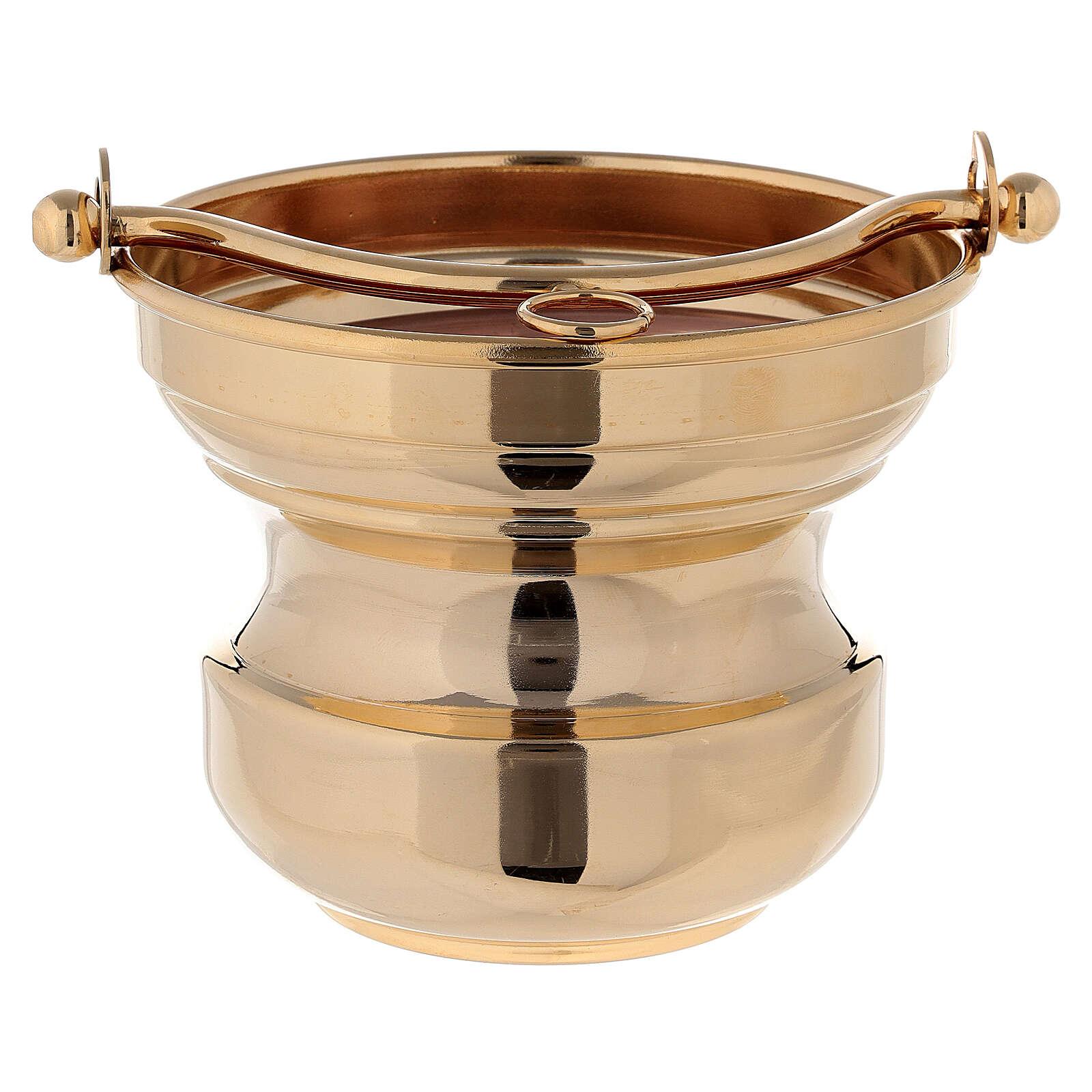 Sceau eau bénite en laiton doré 24K 3
