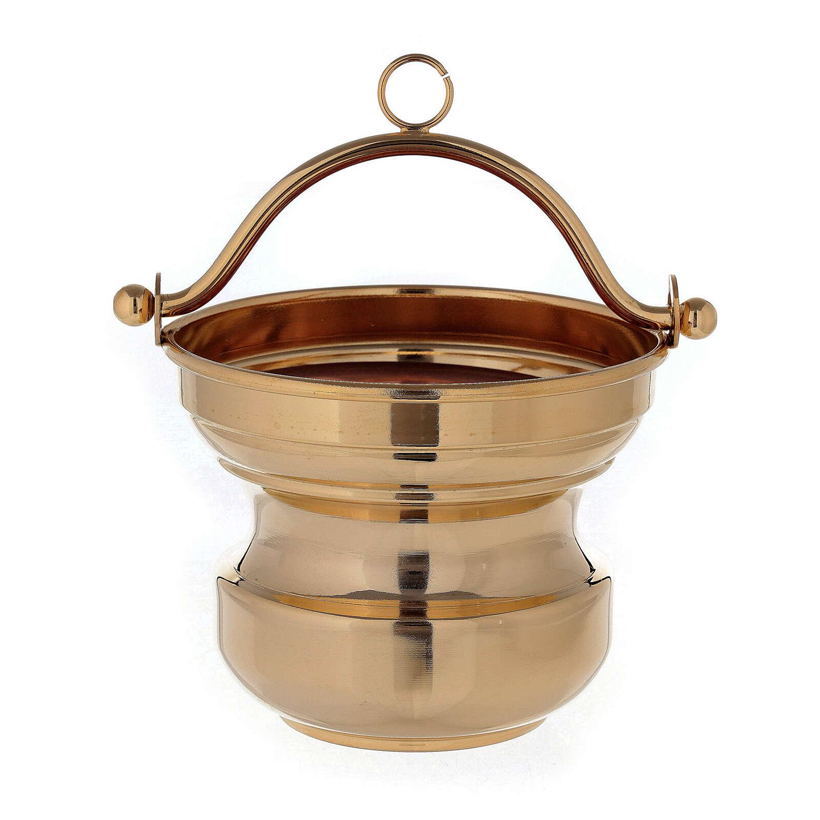 Secchiello acqua santa in ottone dorato 24K 3