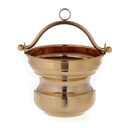 Secchiello acqua santa in ottone dorato 24K 1