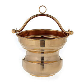 Holy water bucket in golden brass 24K s1