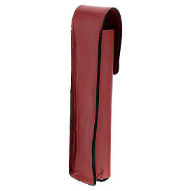Étui pour goupillon 17 cm cuir véritable rouge s2