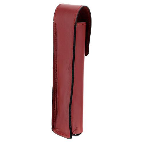 Étui pour goupillon 17 cm cuir véritable rouge 2