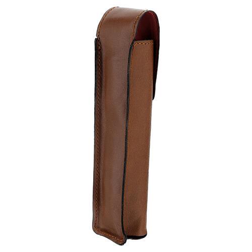 Astuccio porta asperges 17 cm vera pelle marrone 2