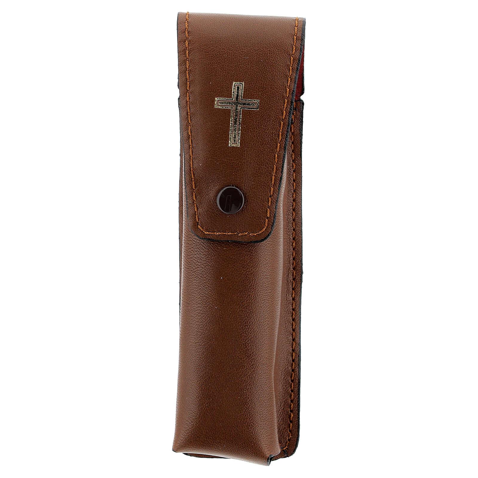 Brown leather case for aspergillum 13 cm 3