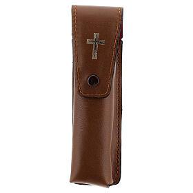 Étui pour goupillon 13 cm cuir véritable marron s1