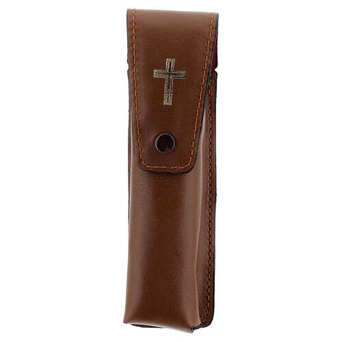 Étui pour goupillon 13 cm cuir véritable marron 1