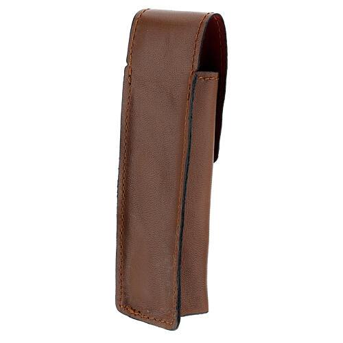 Astuccio porta asperges 13 cm vera pelle marrone 2