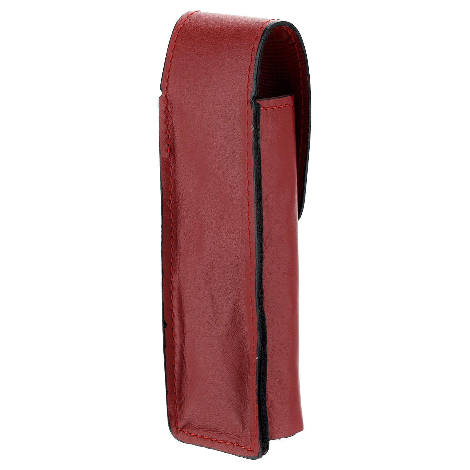 Étui pour goupillon 13 cm cuir véritable rouge 3