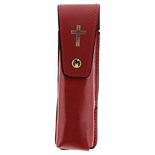 Étui pour goupillon 13 cm cuir véritable rouge 1