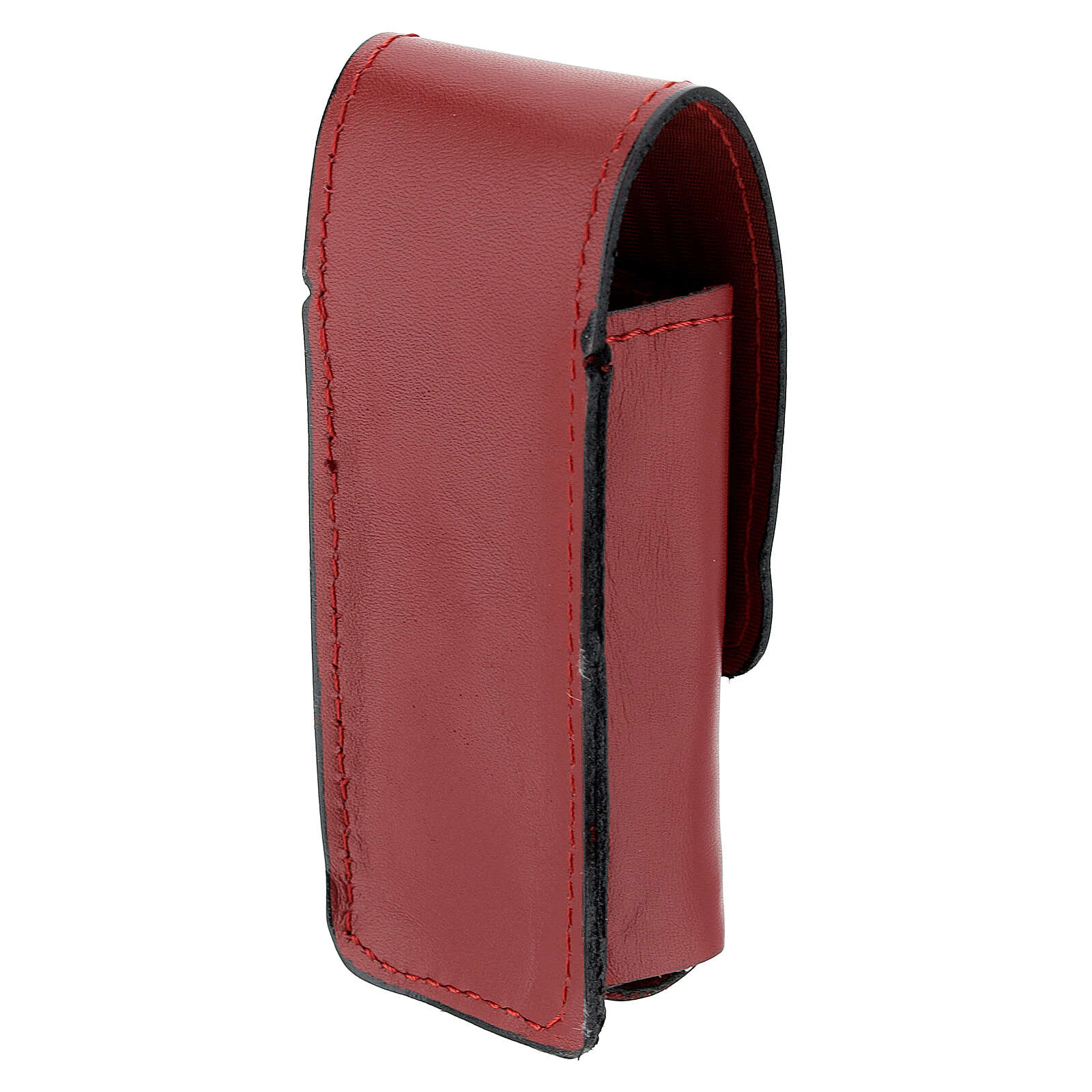 Étui pour goupillon 9 cm cuir véritable rouge 3
