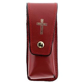 Étui pour goupillon 9 cm cuir véritable rouge s1
