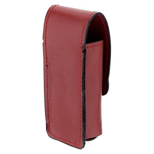 Étui pour goupillon 9 cm cuir véritable rouge 2