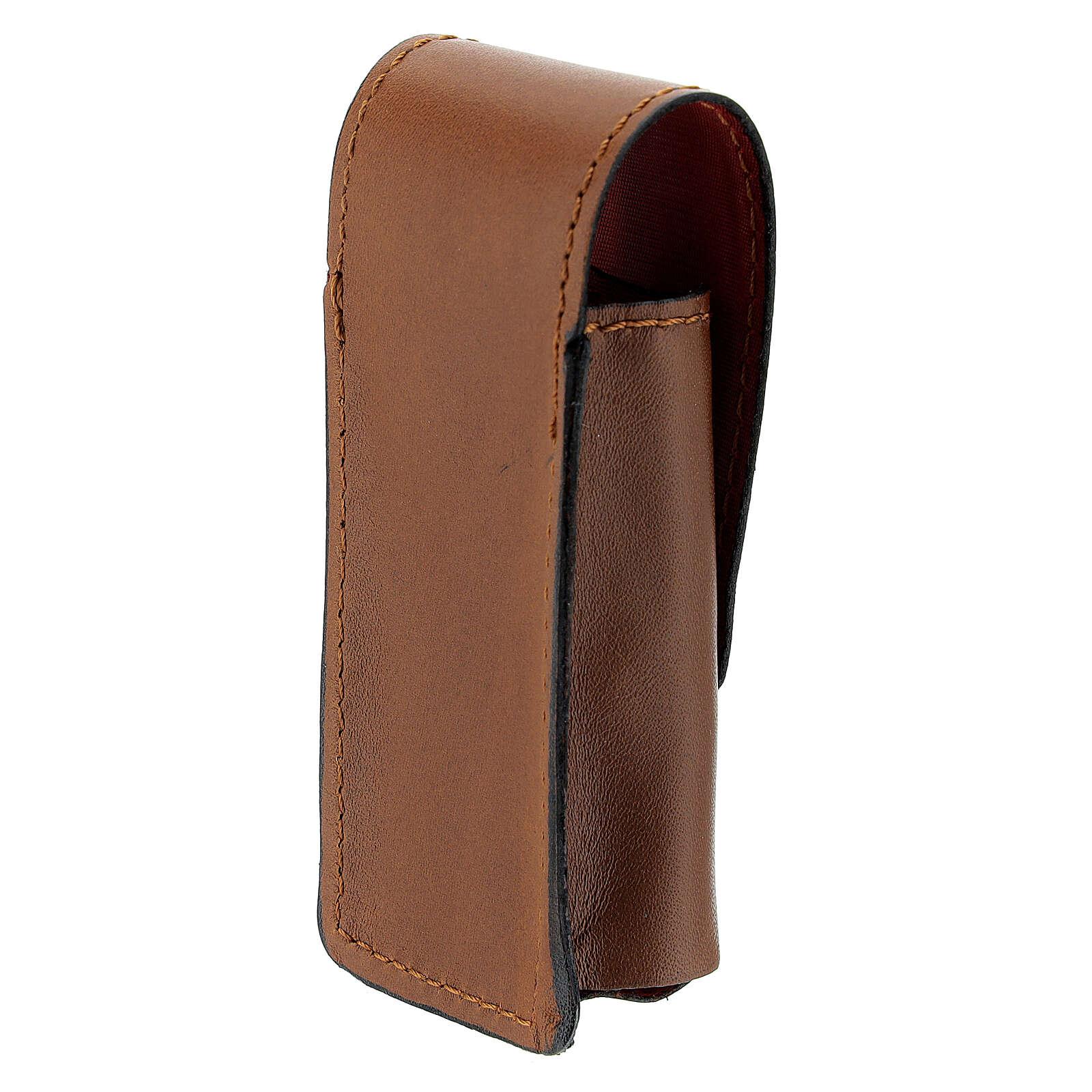 Estuche para aspersorio 9 cm verdadero cuero marrón 3
