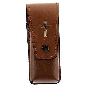 Estuche para aspersorio 9 cm verdadero cuero marrón s1