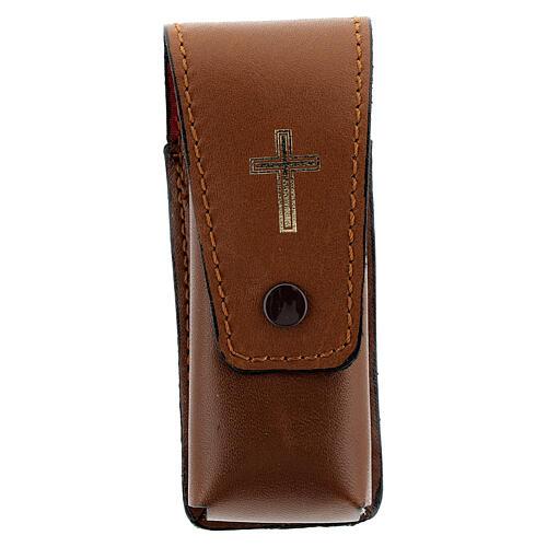Étui pour goupillon 9 cm cuir véritable marron 1