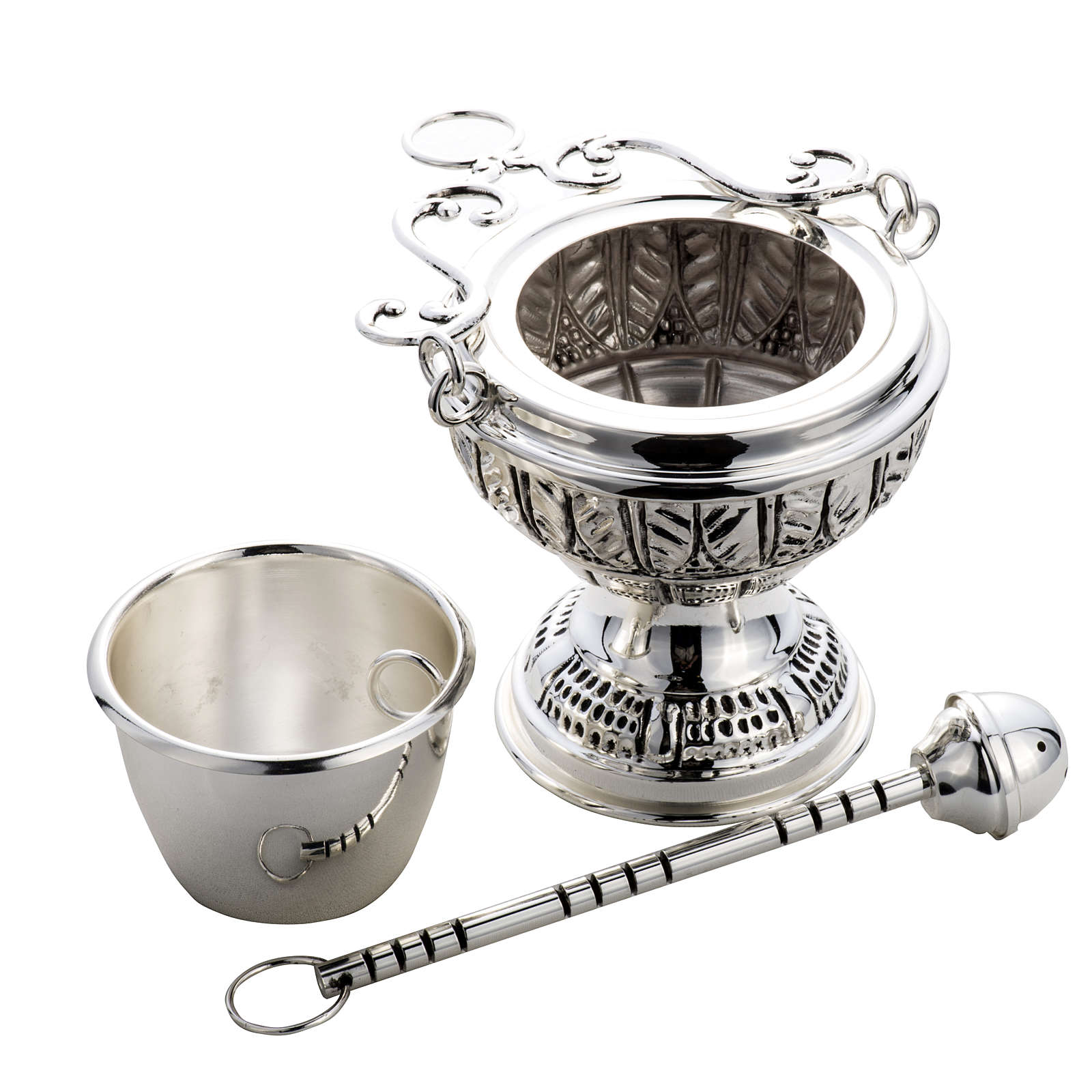 Bucket and aspersorium in hand chiselled brass, silver plated 3