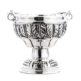 Bucket and aspersorium in hand chiselled brass, silver plated s5