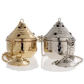 Encensoir repoussé couleur nickelé ou doré s1