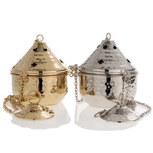 Encensoir repoussé couleur nickelé ou doré 1