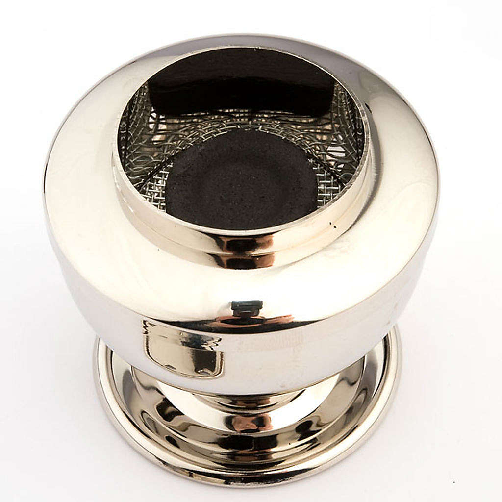 Silver plated charcoal incense burner 3