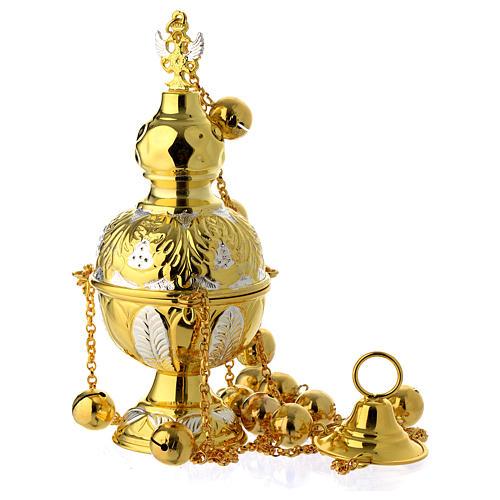 Encensoir style orthodoxe or et argent 1