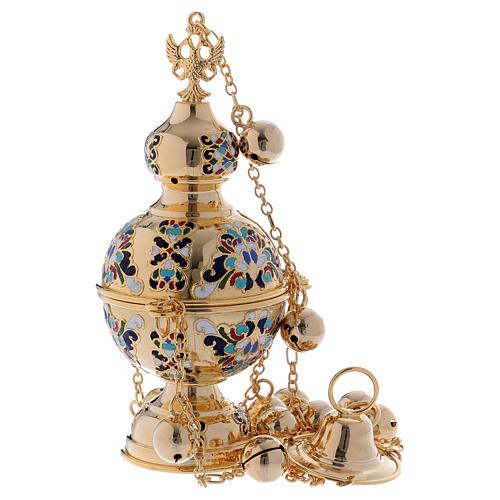 Encensoir style orthodoxe doré émaillé 1