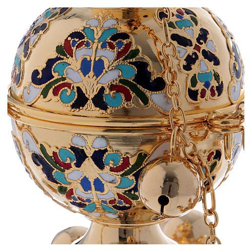 Encensoir style orthodoxe doré émaillé 2