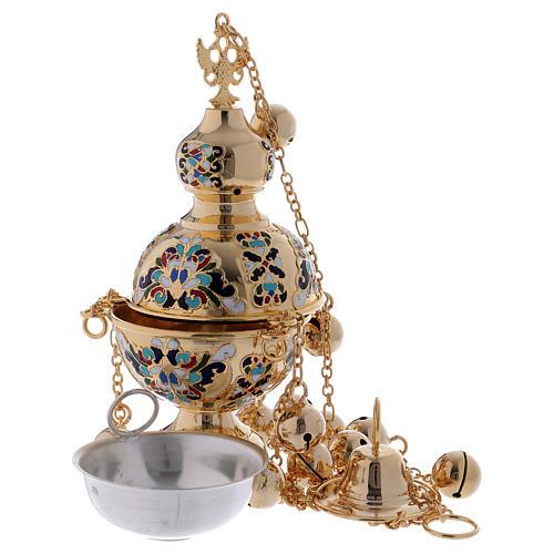 Encensoir style orthodoxe doré émaillé 3