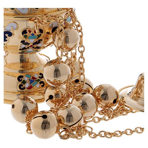 Encensoir style orthodoxe doré émaillé 4