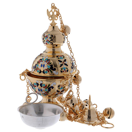 Orthodox style glazed golden thurible 3