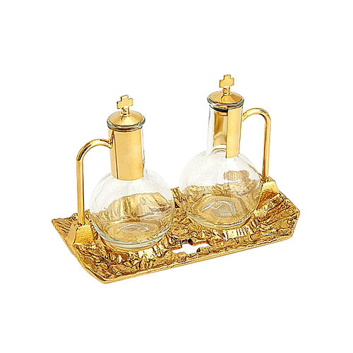 Gold plated brass cruet set and tray 1