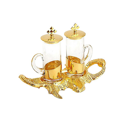 Cruet set for mass with gold plated fish tray 1