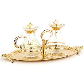 Cruet set with brass tray s1
